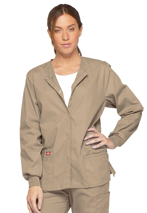 Dickies EDS Signature Snap Front Warm-Up Jacket in Dark Khaki