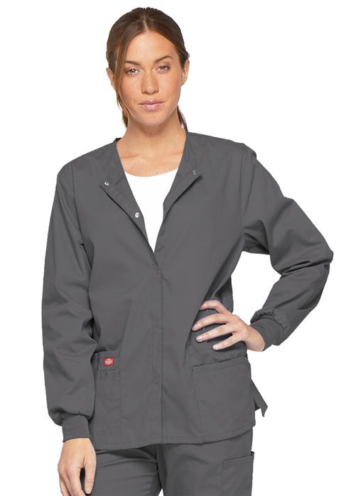 Dickies EDS Signature Snap Front Warm-Up Jacket in Pewter