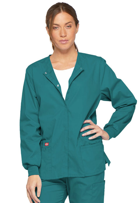 Dickies EDS Signature Snap Front Warm-Up Jacket in Teal Blue