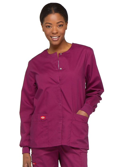 Dickies EDS Signature Snap Front Warm-Up Jacket in Wine