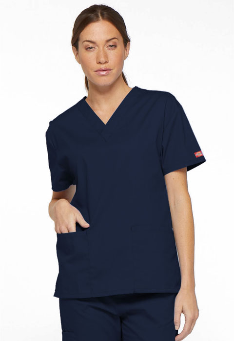 Dickies EDS Signature V-Neck Top in Navy