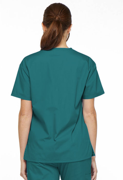 Dickies EDS Signature V-Neck Top in Teal Blue