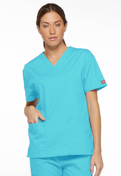Dickies EDS Signature V-Neck Top in Turquoise