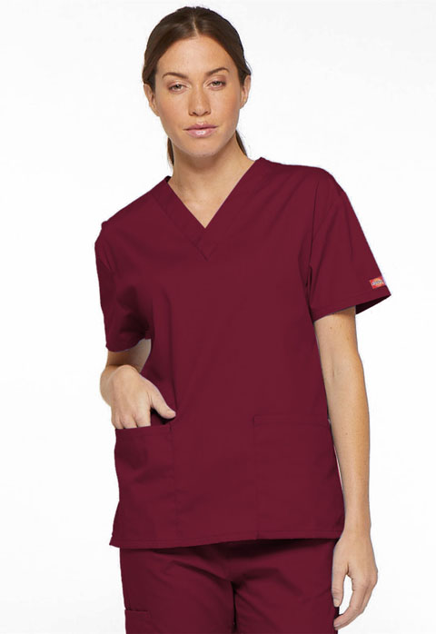 Dickies EDS Signature V-Neck Top in Wine
