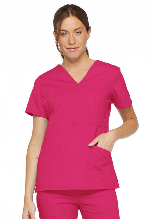 Dickies EDS Signature Mock Wrap Top in Hot Pink