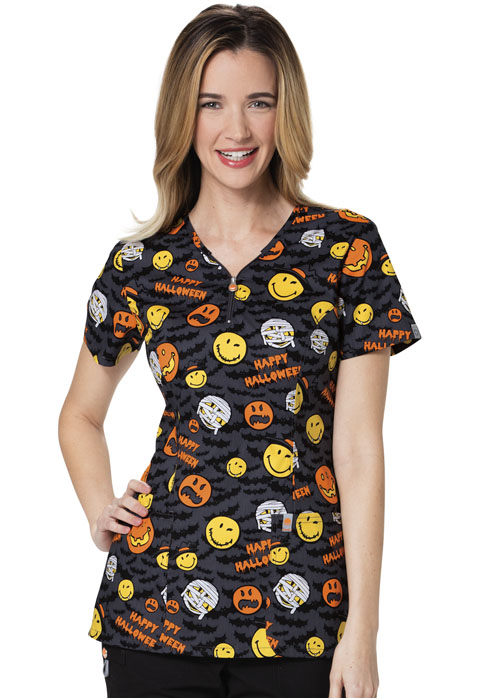 Code Happy Code Happy Prints Women's V-Neck Top Bats About Halloween