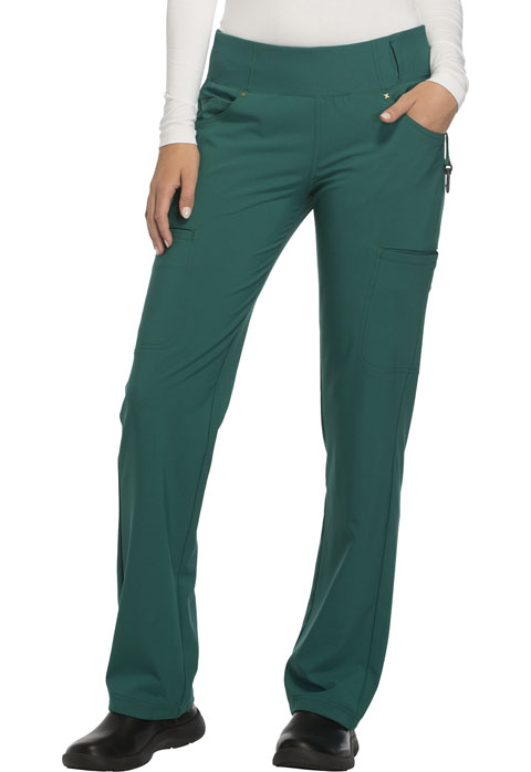 Cherokee iFlex by Cherokee Women's Mid Rise Straight Leg Pull-on Pant Green