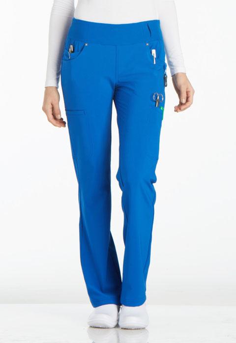 Cherokee iFlex by Cherokee Women's Mid Rise Straight Leg Pull-on Pant Blue