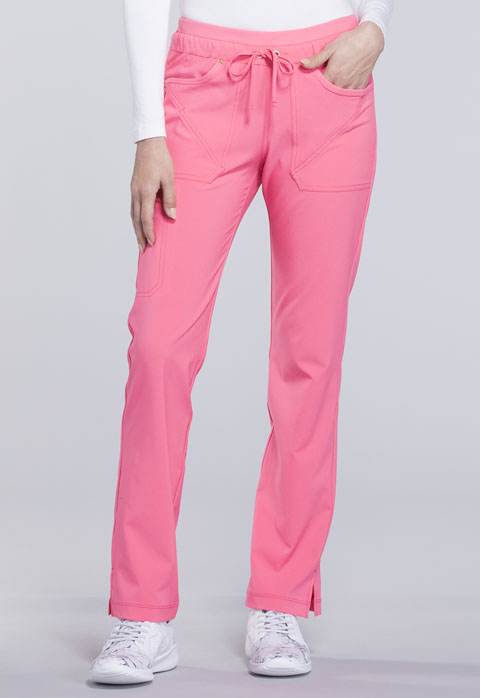 Cherokee iFlex by Cherokee Women's Mid Rise Tapered Leg Drawstring Pants Pink