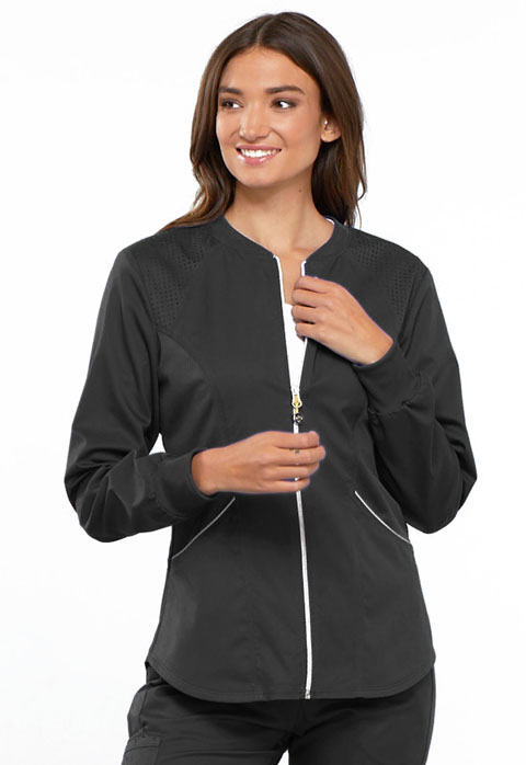 Cherokee Cherokee Luxe Sport Women's Zip Front Warm-up Jacket Gray