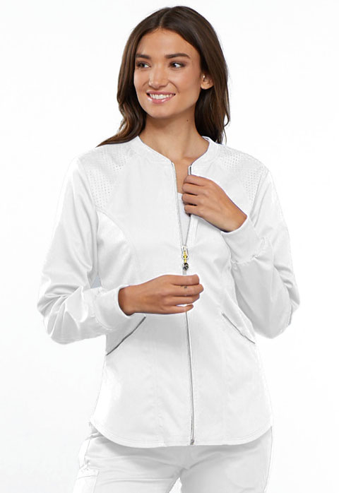 Cherokee Cherokee Luxe Sport Women's Zip Front Warm-up Jacket White