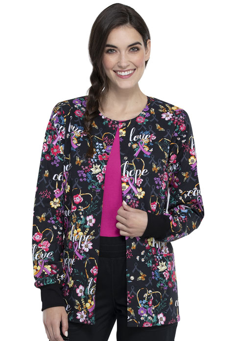 Cherokee Prints Women Snap Front Warm-up Jacket Bouquets Of Hope
