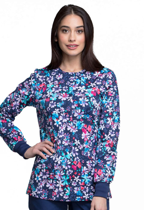Cherokee Cherokee Prints Women's Snap Front Warm-up Jacket Floral Blast