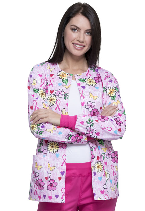 Cherokee Prints Women Snap Front Warm-up Jacket Hope Is Beautiful