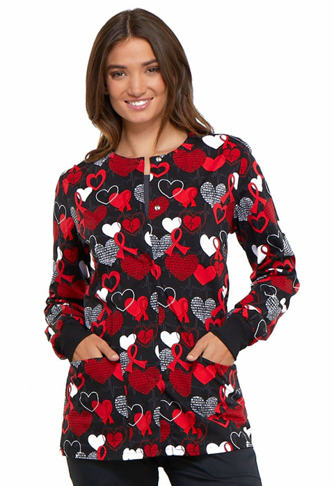 Cherokee Prints Women Snap Front Warm-up Jacket Heart Smart