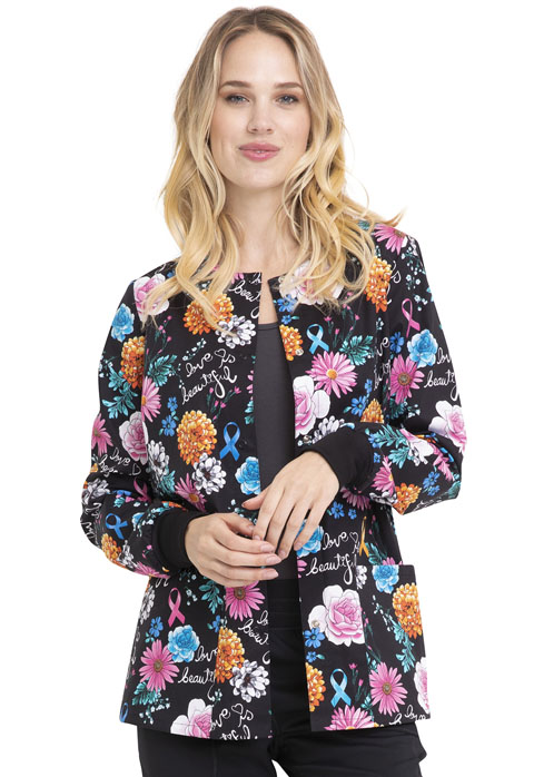 Cherokee Prints Women's Snap Front Warm-up Jacket Love Is Beautiful