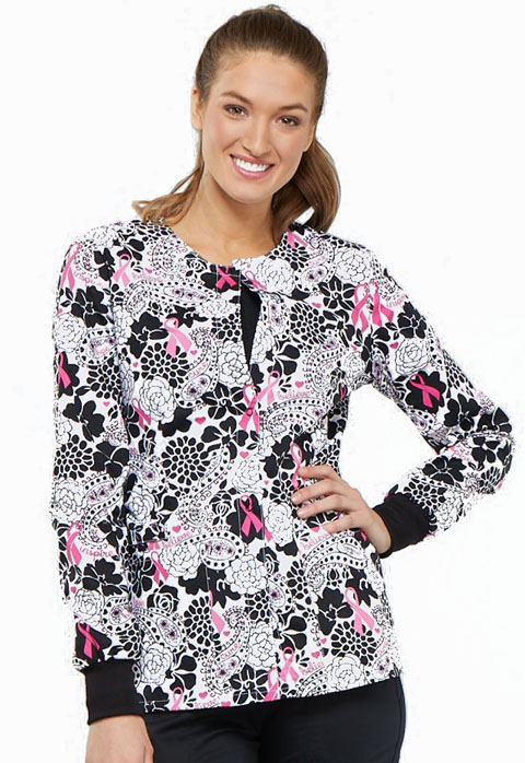 Cherokee Prints Women Snap Front Warm-up Jacket Paisley Love