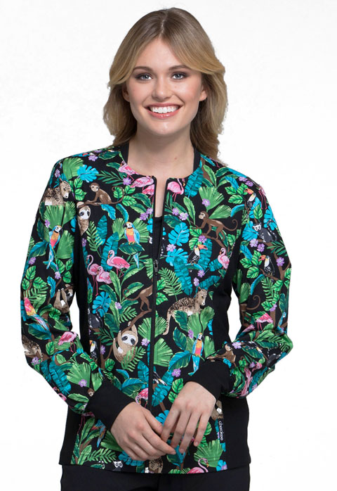 Cherokee Cherokee Flexibles Women's Zip Front Knit Panel Jacket Tropical Tango