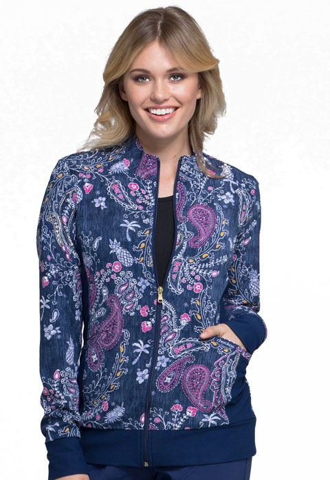 Cherokee Cherokee Flexibles Women's Zip Front Knit Panel Jacket Pineapple Paisley
