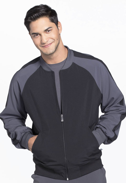 Cherokee Infinity by Cherokee Men's Men's Colorblock Zip Up Warm-Up Jacket Black