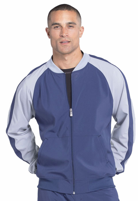 Cherokee Infinity by Cherokee Men's Men's Colorblock Zip Up Warm-Up Jacket Blue