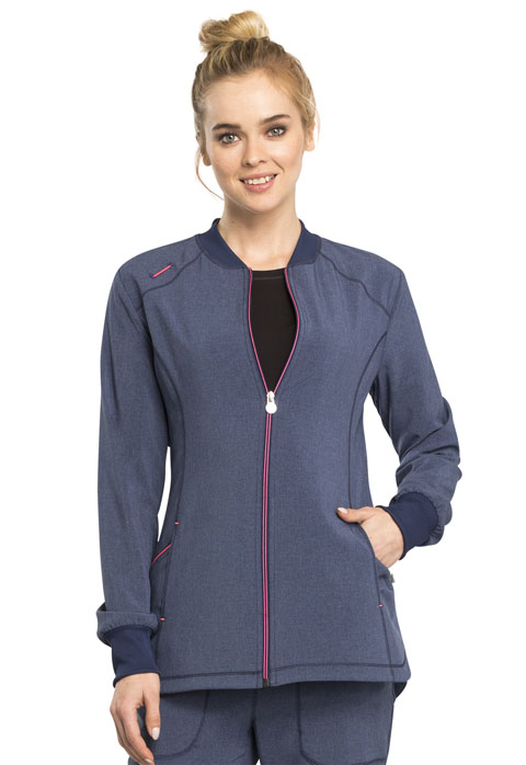 Cherokee Infinity Women's Zip Front Warm-up Blue