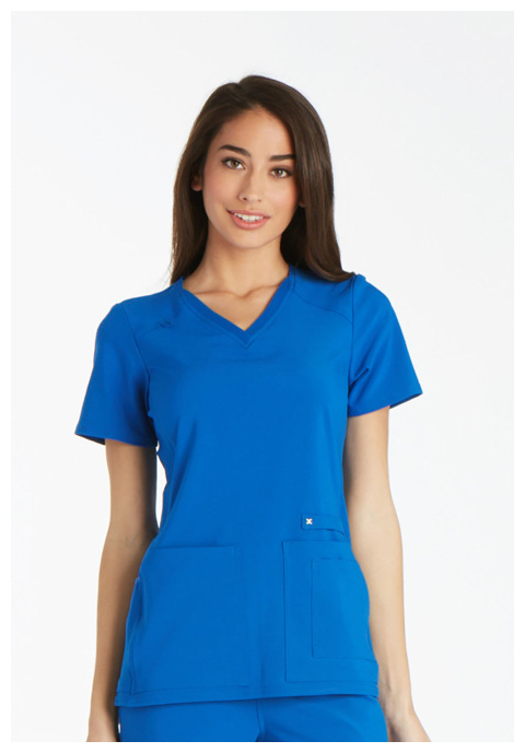 iFlex Women V-Neck Knit Panel Top Blue