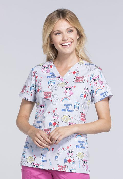 Cherokee Prints Women's V-Neck Top Nurses Are Owl-some