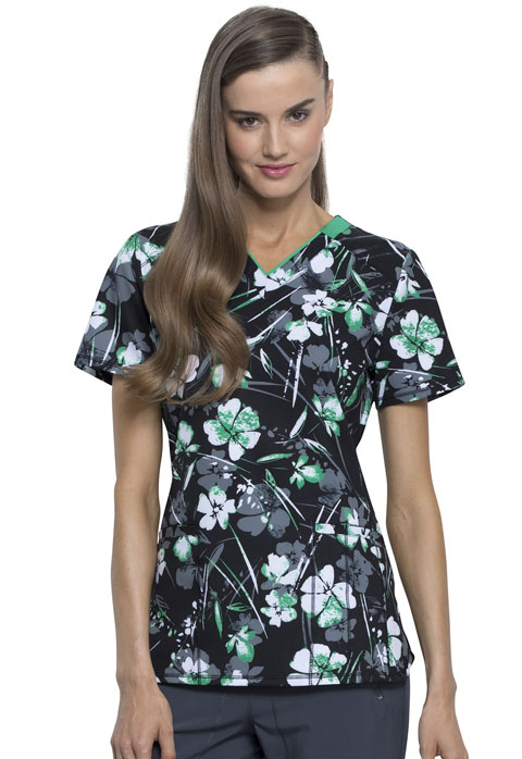 Infinity Women V-Neck Top Botanical Gestures