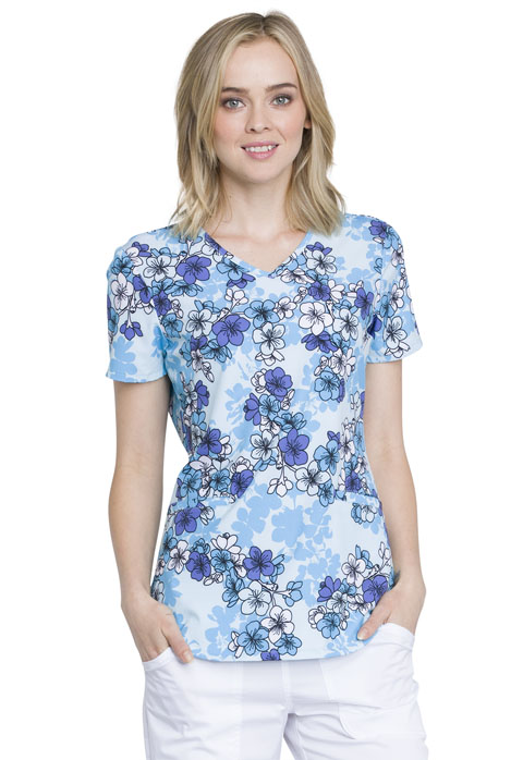 Cherokee Prints Women V-Neck Top Beautiful Blossoms