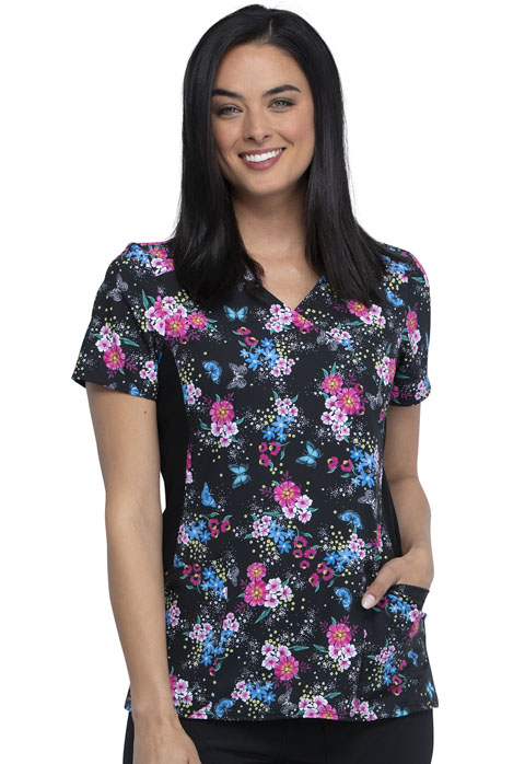 iFlex Women's Mock Wrap Knit Panel Top Among The Wildflowers