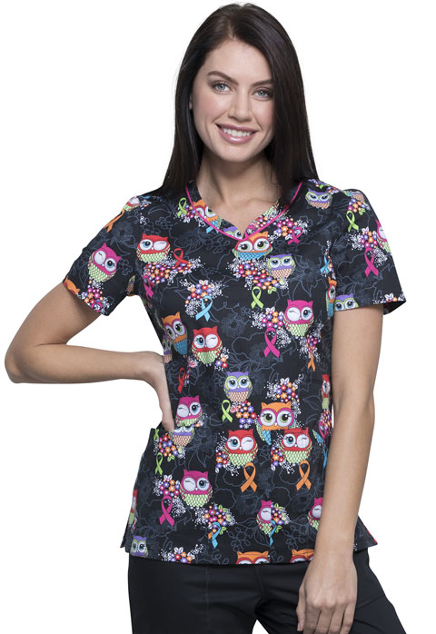 Cherokee Prints Women V-Neck Top Let's Give A Hoot