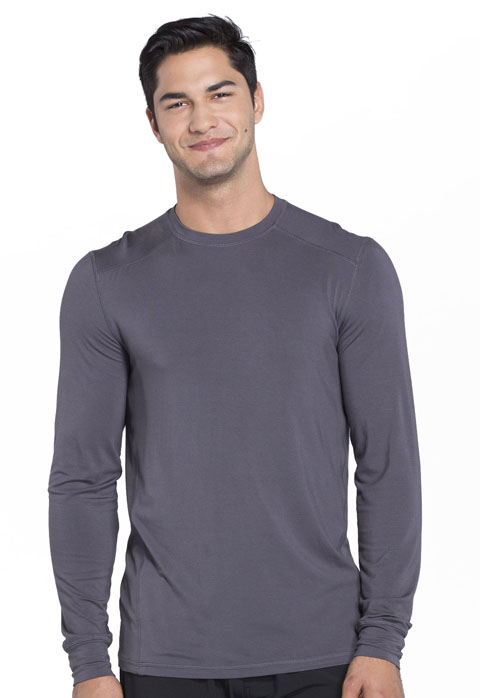 Cherokee Infinity by Cherokee Men's Men's Long Sleeve Underscrub Knit Top Gray