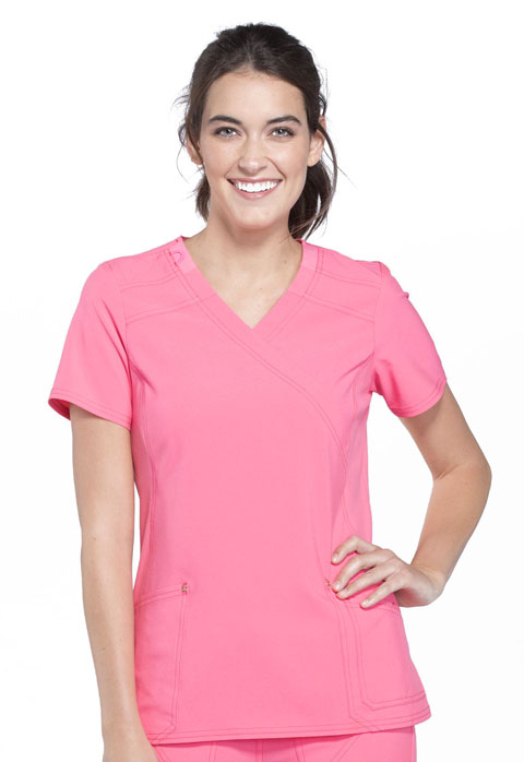 Cherokee iFlex by Cherokee Women's Mock Wrap Knit Panel Top Pink