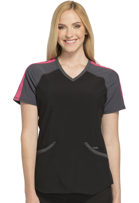 Cherokee Infinity by Cherokee Women's Colorblock V-Neck Top Black