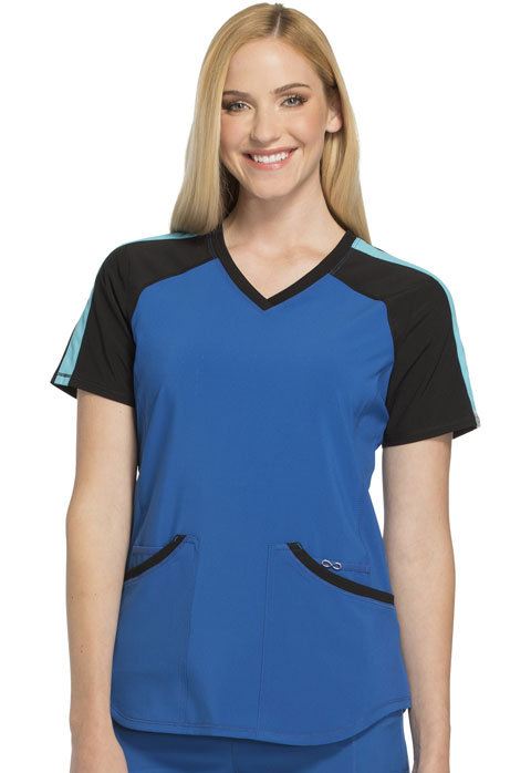 Cherokee Infinity by Cherokee Women's Colorblock V-Neck Top Blue