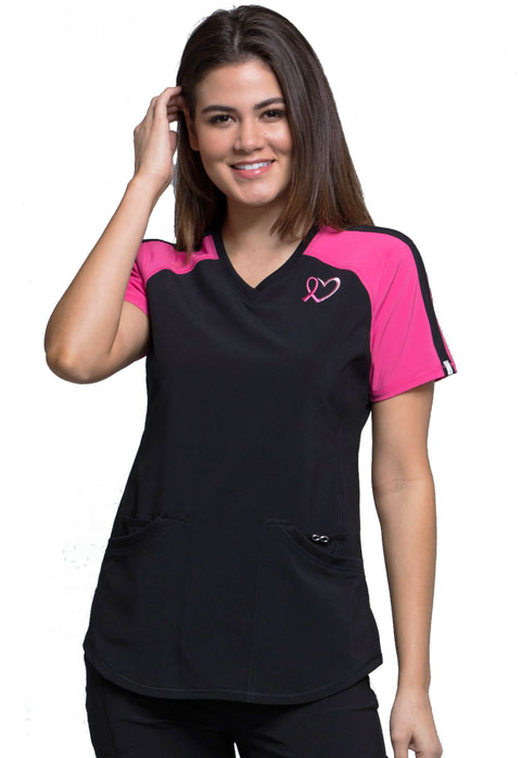 c7c1fed661 Infinity V-Neck Colorblock Top in Black (Antimicrobial)