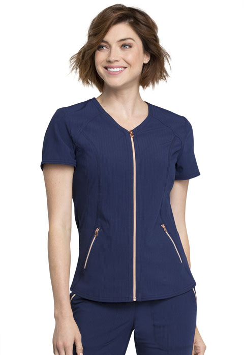 StatementV-Neck Zip Front Top