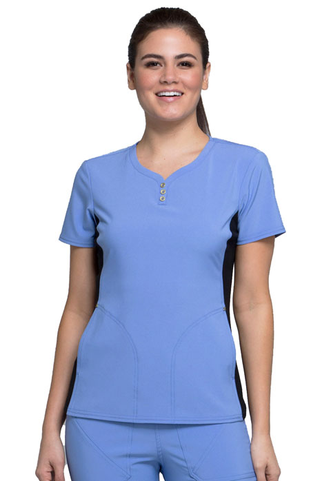4dde1cb1626 iFlex V-Neck Button Placket Top in Ciel Blue CK800-CIE from Cherokee ...