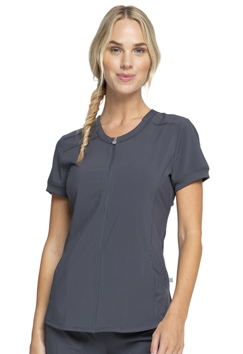 Infinity Women Zip Front V-Neck Top Gray