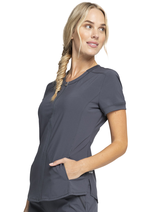 Photograph of Zip Front V-Neck Top