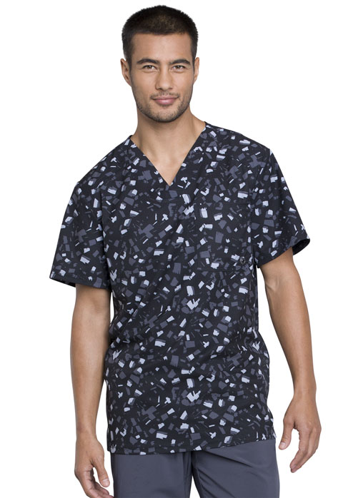 Infinity Men's Men's V-Neck Top Brush Stroke Black