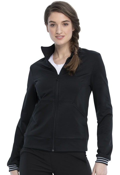 Katie Duke iFlex Women Zip Front Knit Jacket Black