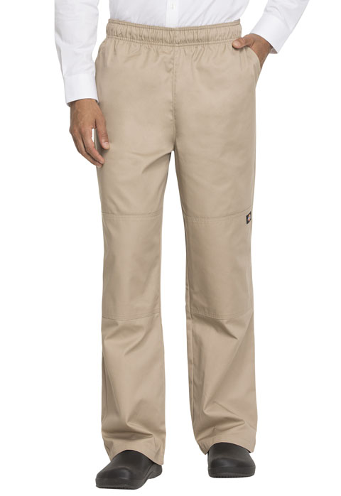 Dickies Chef Unisex Double Knee Baggy Elastic Pant in Khaki