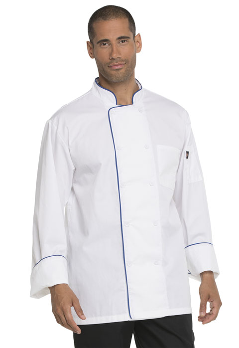 Dickies Chef Unisex Cool Breeze Chef Coat with Piping in White With Royal