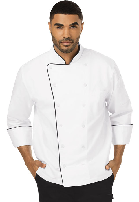 Dickies Chef Unisex Executive Chef Coat with Piping in White with Black Trim