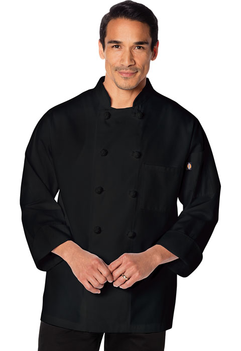 Dickies Chef Unisex Classic Knot Button Chef Coat in Black