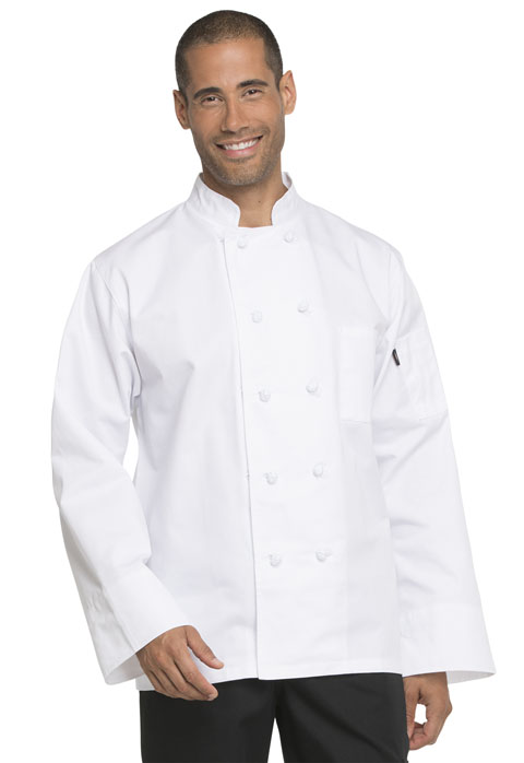 Dickies Chef Unisex Classic Knot Button Chef Coat in White
