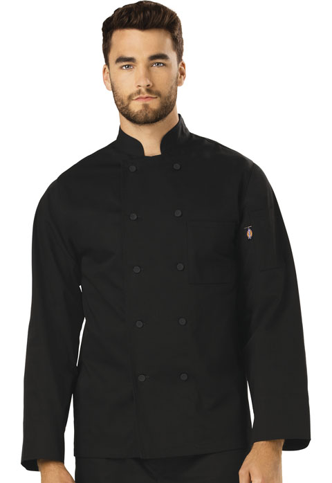Dickies Chef Unisex Classic Cloth Covered Button Coat in Black