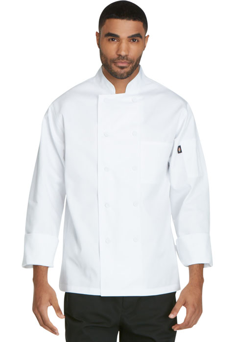 Dickies Chef Unisex Classic Cloth Covered Button Coat in White